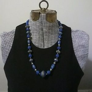 Vintage Blue and Gold Bead Necklace